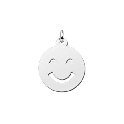 Zilveren emoji hanger glimlach