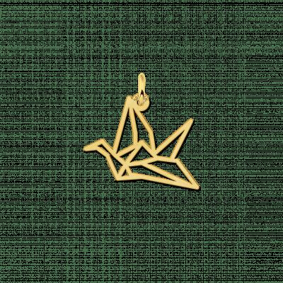 Geometrische hanger goud kraanvogel