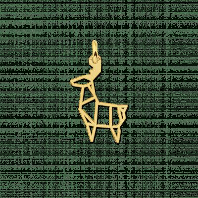 Geometrische hanger goud met hert vorm