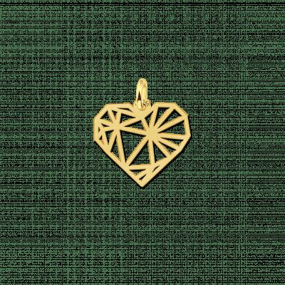Gouden geometrische hanger hartje