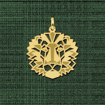 Gouden geometrische hanger leeuw