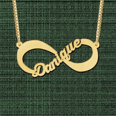 Gouden infinity ketting met uitgesneden naam