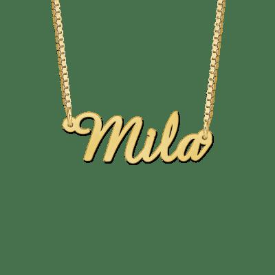 Gouden ketting met naam voorbeeld Mila