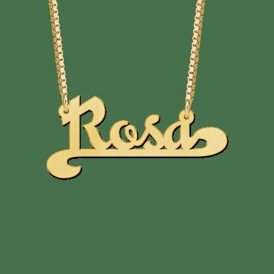 Gouden ketting met naam voorbeeld Rosa