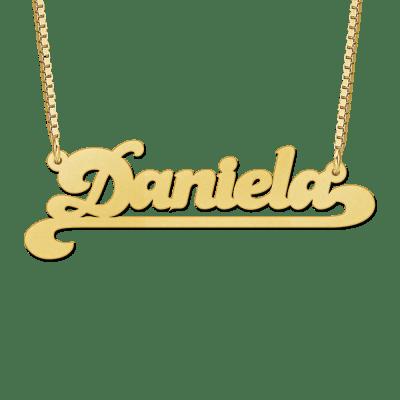 Gouden naam ketting met voorbeeldnaam Daniela