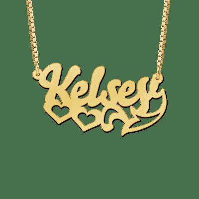 Gouden naam ketting voorbeeld Kelsey