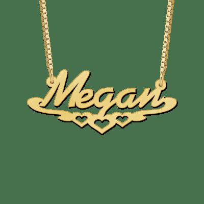 Gouden naamketting met voorbeeld Megan