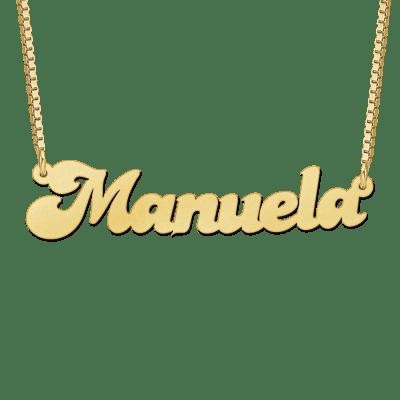 Gouden naamketting met voorbeeldnaam Manuela