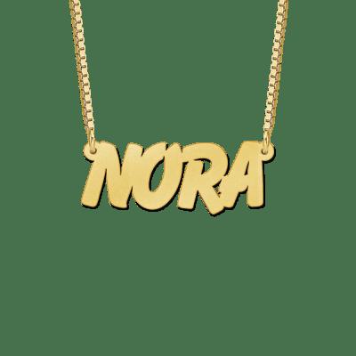 Gouden naamketting met voorbeeldnaam Nora