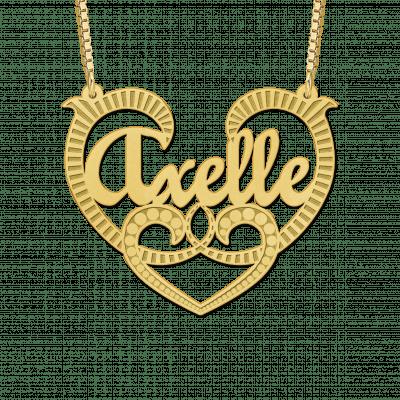 Grote naamketting van goud met krul voorbeeld Axelle