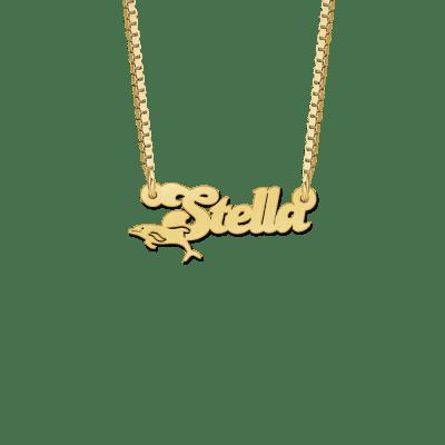 Naam ketting van goud met dolfijn voorbeeld Stella