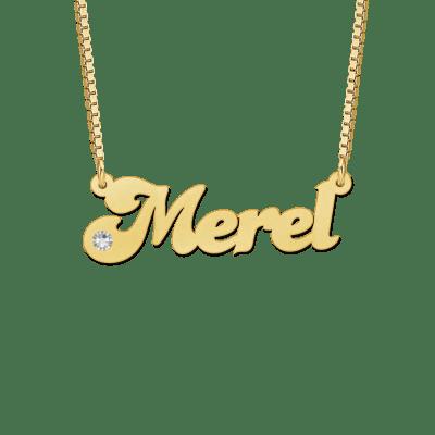Naam ketting van goud met zirkonia voorbeeld Merel