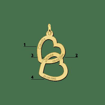 Gepersonaliseerde gouden hanger hart Names4ever