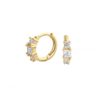 Gold plated oorbellen met 3 zirkonias