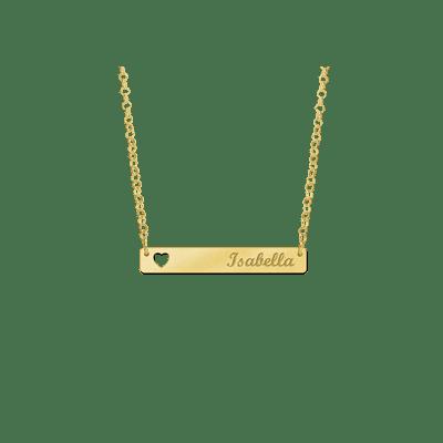 Gouden bar ketting met hartje Names4ever