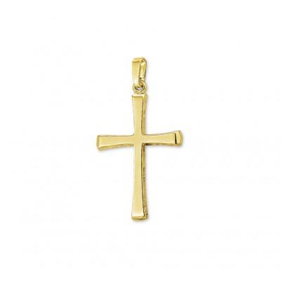 Gouden hanger kruis vlak glanzend