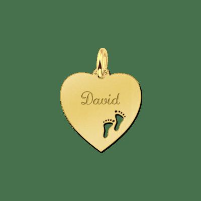 Gouden hart met gravure en voetjes Names4ever