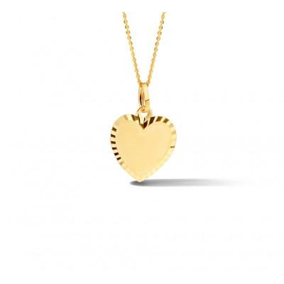 Gouden hartjes hanger met gediamanteerde rand