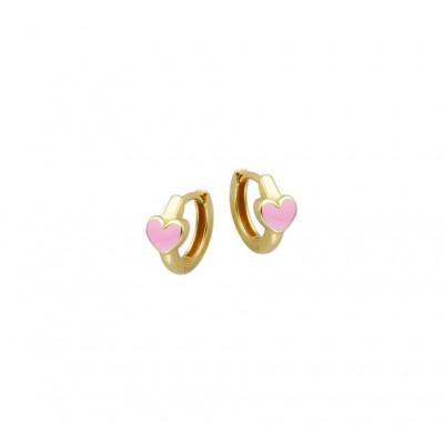 Gouden kindercreolen roze hart