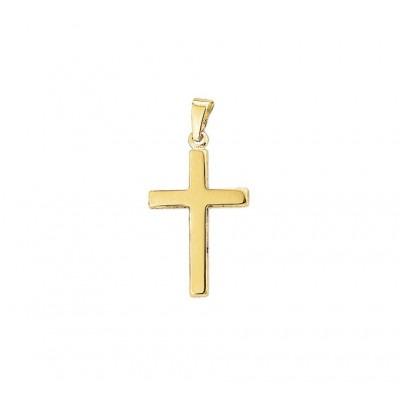 Gouden kruis hanger strak en glanzend