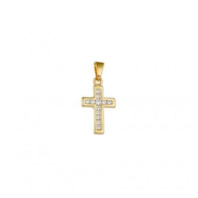Gouden kruis hangertje zirkonia massief