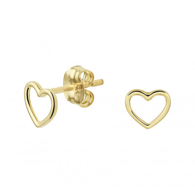 Gouden oorknopjes open hartjes