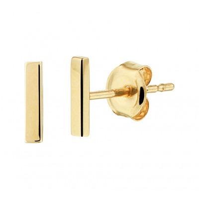 Gouden oorknopjes staafjes 6 mm