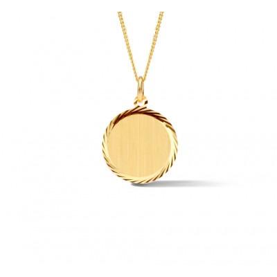 Gouden ronde hanger met gediamanteerde rand
