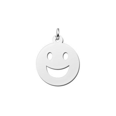 Zilveren smiley hanger grote glimlach