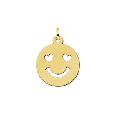 Gouden smiley hanger hartjes ogen