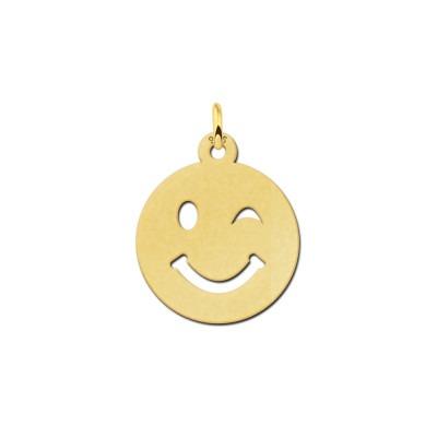 Gouden smiley hanger knipoog