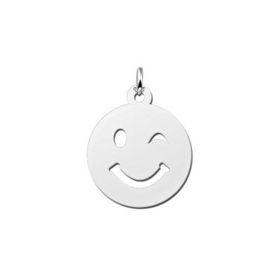 Zilveren smiley hanger knipoog