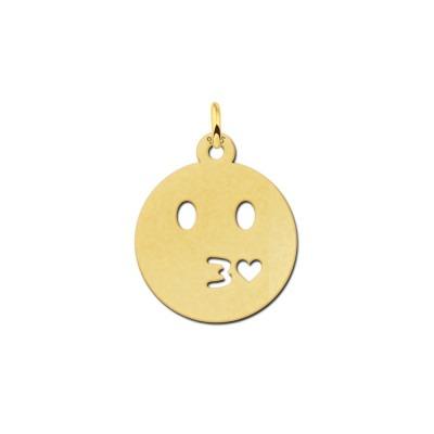 Gouden emoticon hanger kusje