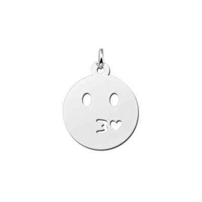 Zilveren emoticon hanger kusje