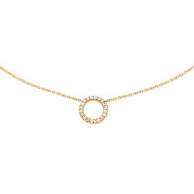 14-karaat gouden dames ketting met diamant