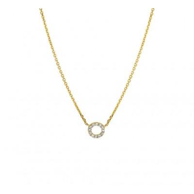 14-karaat gouden edelsteen ketting met diamant