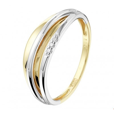14-Karaat ring bicolor 6 mm met diamant