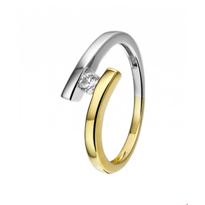 14-Karaat ring bicolor 8 mm met zirkonia