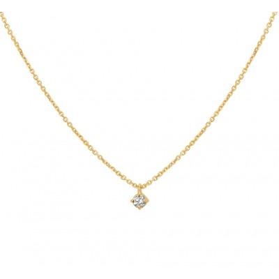 14 krt gouden dames ketting met diamant