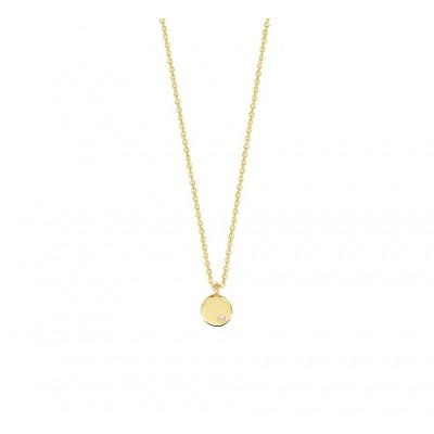 14 krt gouden edelsteen ketting met diamant