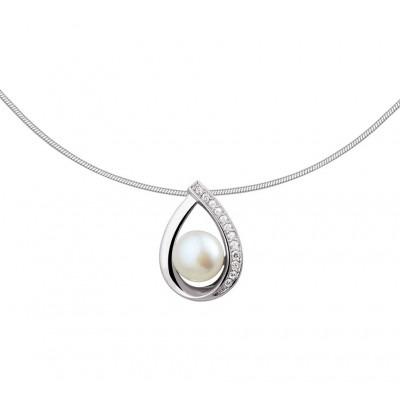 925 zilveren edelsteen ketting met parel