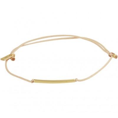 Armband beige katoen met gouden balkje