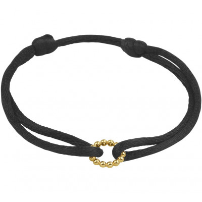 Armband satijn gouden rondje