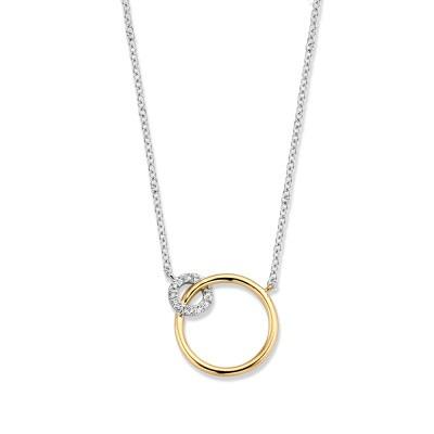 Bicolor collier met verbonden cirkels en diamant