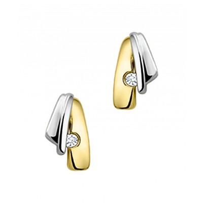 Bicolor diamanten oorknopjes