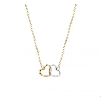 Bicolor gouden hartjes ketting wit en geelgoud 40-42-44 cm