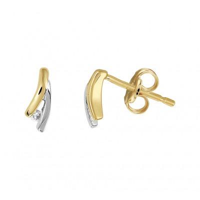 Bicolor oorknopjes met diamant