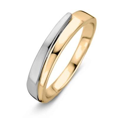 Bicolor ring geelgoud