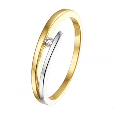 Bicolor ring met diamant 4 mm breed
