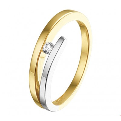 Bicolor ring met diamant 5 mm breed